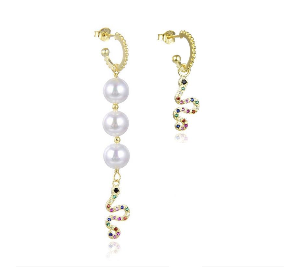 WiOGA Colorful snake hoop mix pearl - Guld