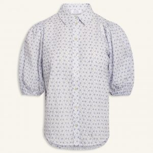 Love and Divine puff shirt broderi anglaise hvid blå