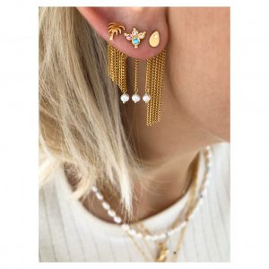 Dancing Chains Long Behind Ear-Earring Gold d
