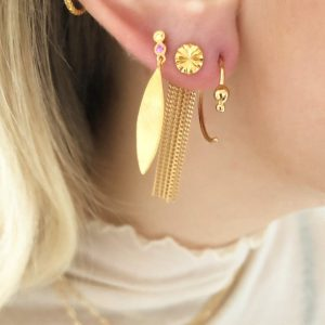 Dancing Chains Long Behind Ear-Earring Gold d2