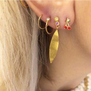 Big Dot Curl Earring Right Gold 2