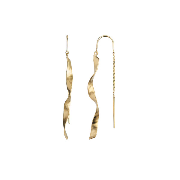Stine A Long Twisted Hammered Earring with Chain Gold