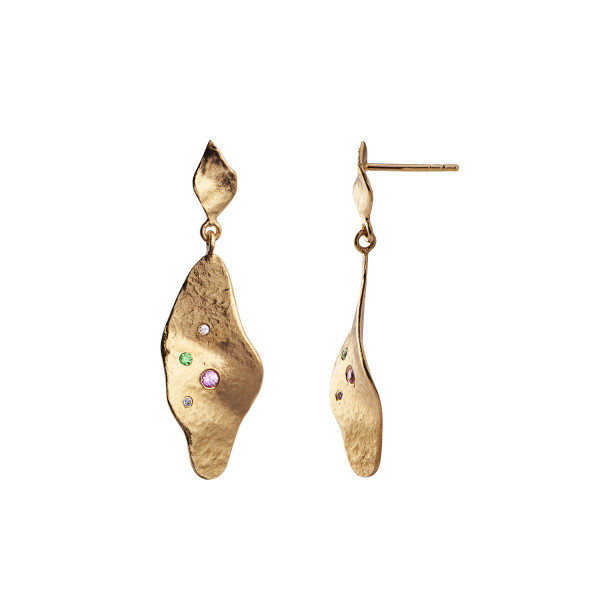 Stine A Dangling Ile De L'Amour Earring with Stones Gold
