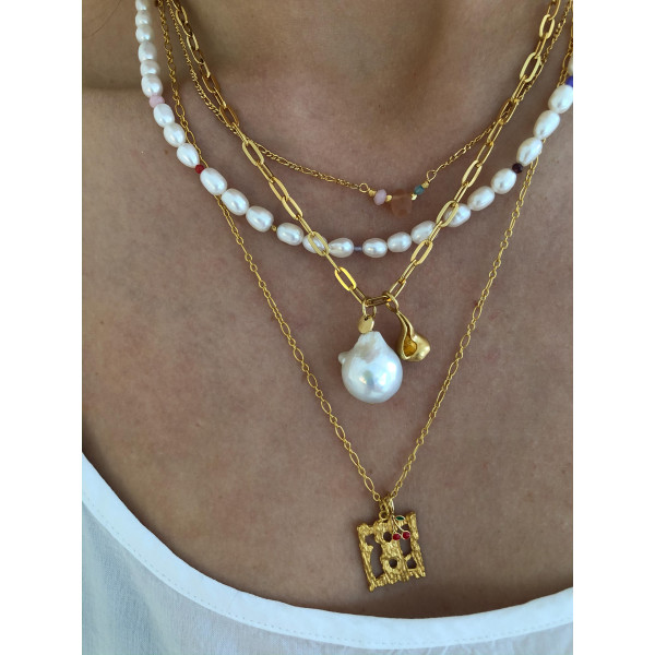 Big Chunky Pendant Chain Gold d3