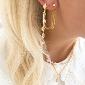 Six Dangling Ile De L'Amour Long Earring Gold d