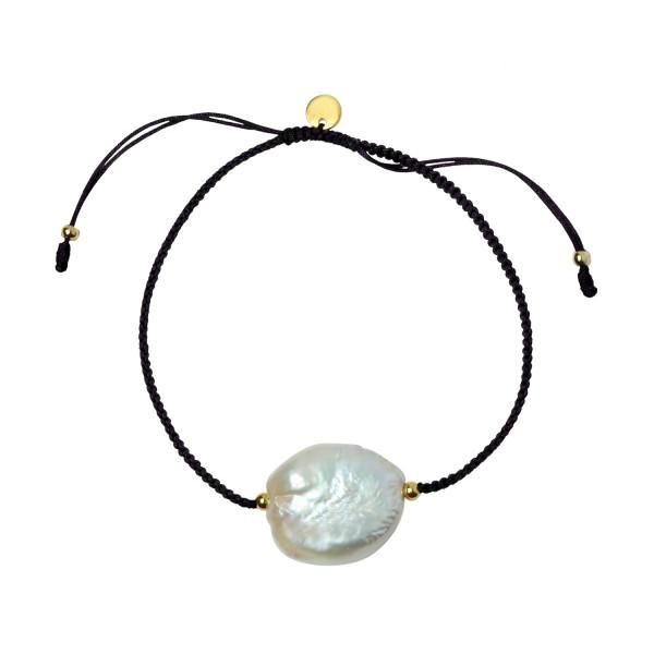Big White Pearl and Black Ribbon Bracelet
