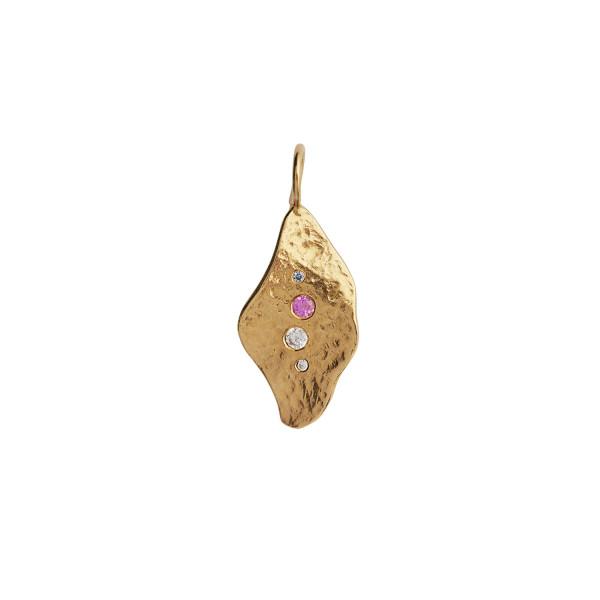 Ile De L'Amour Pendant with Stones Gold