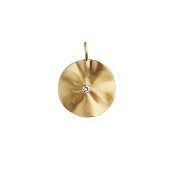 La Feuille Pendant with Light Lavender Zircon - Gold