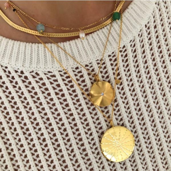 La Feuille Pendant with Light Lavender Zircon - Gold 1
