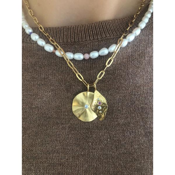 La Feuille Pendant with Light Lavender Zircon - Gold 4