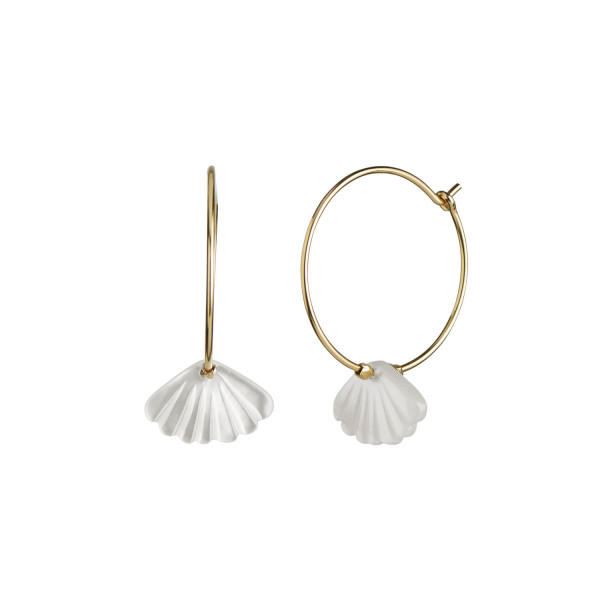 Stine A Hoop with White Seashell Earring Gold